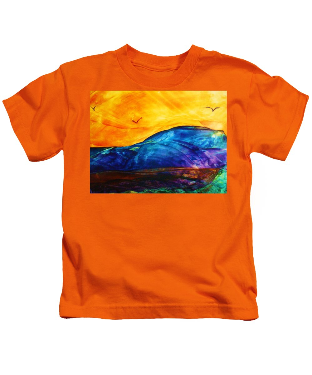 Landscape Kids T-Shirt featuring the painting One Fine Day by Melinda Etzold
