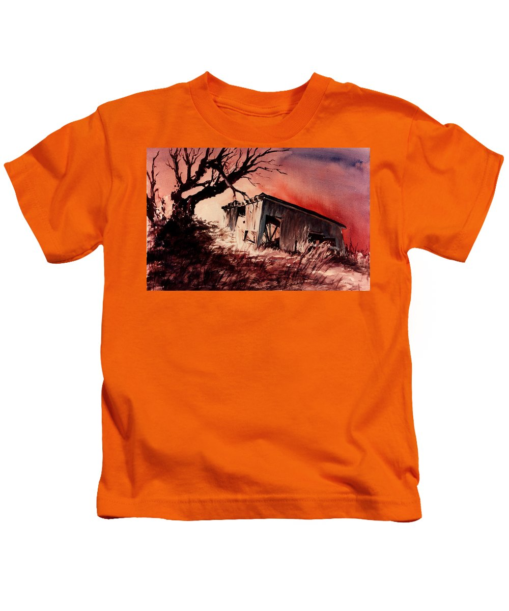 Landscape Kids T-Shirt featuring the painting Open House by Rachel Christine Nowicki