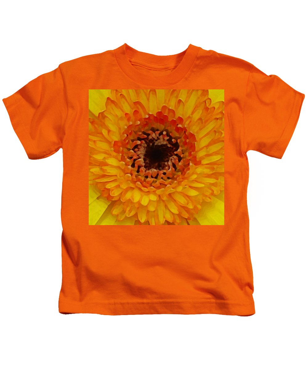 Daisy Kids T-Shirt featuring the painting Orange And Black Gerber Center by Amy Vangsgard