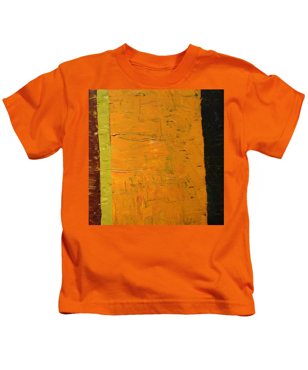 Red Kids T-Shirt featuring the painting Orange And Brown by Michelle Calkins