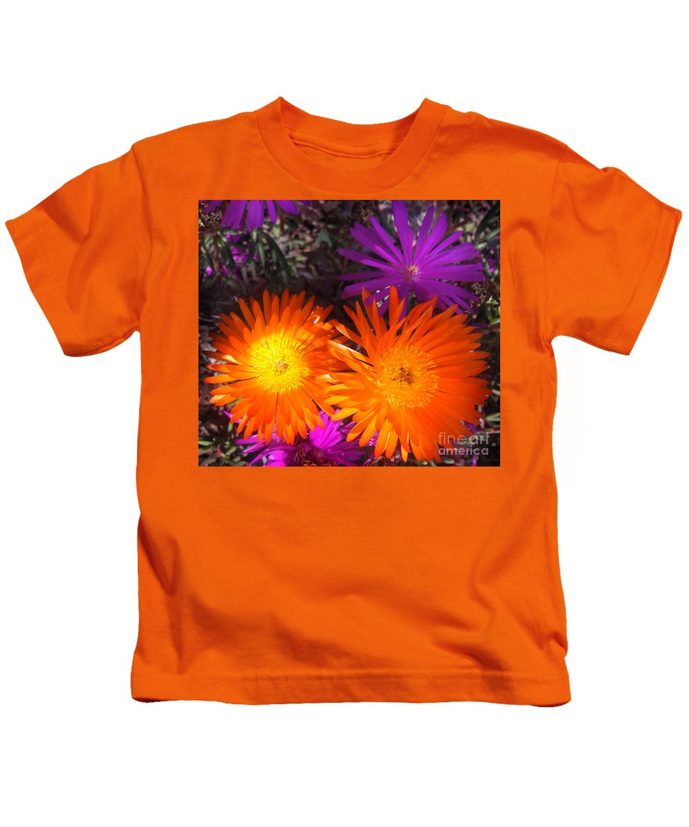 Cool Kids T-Shirt featuring the photograph Orange And Fuchsia Color Flowers by Sofia Metal Queen
