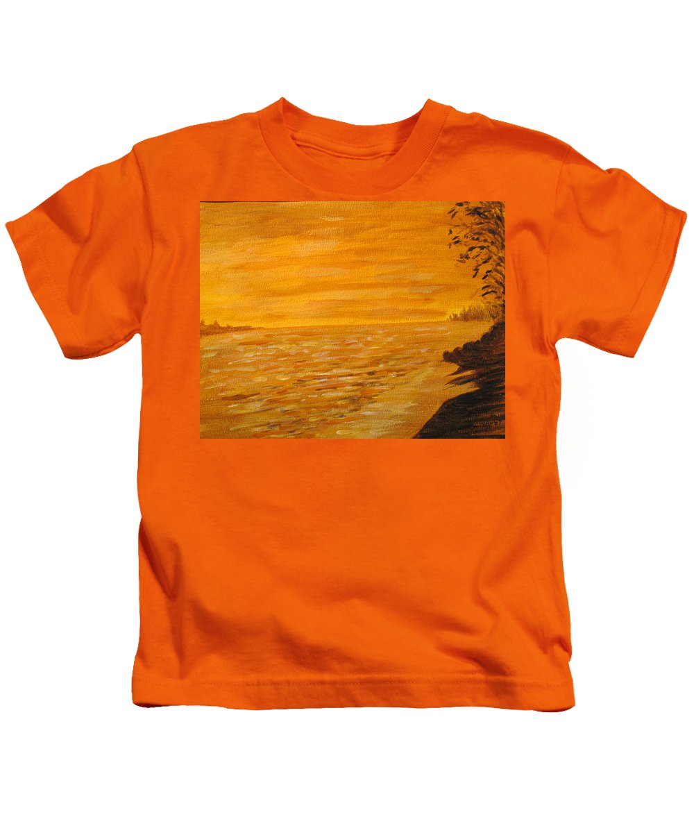 Ocean Kids T-Shirt featuring the painting Orange Beach by Ian MacDonald