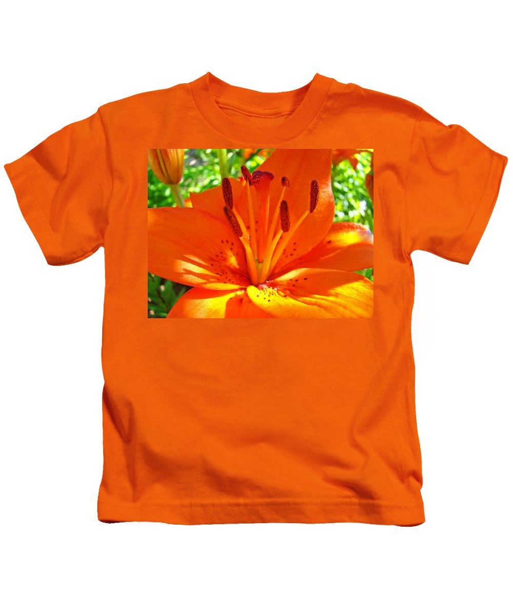 Lilies Kids T-Shirt featuring the photograph Orange Lily Flower Art Print Summer Lily Garden Baslee Troutman by Baslee Troutman
