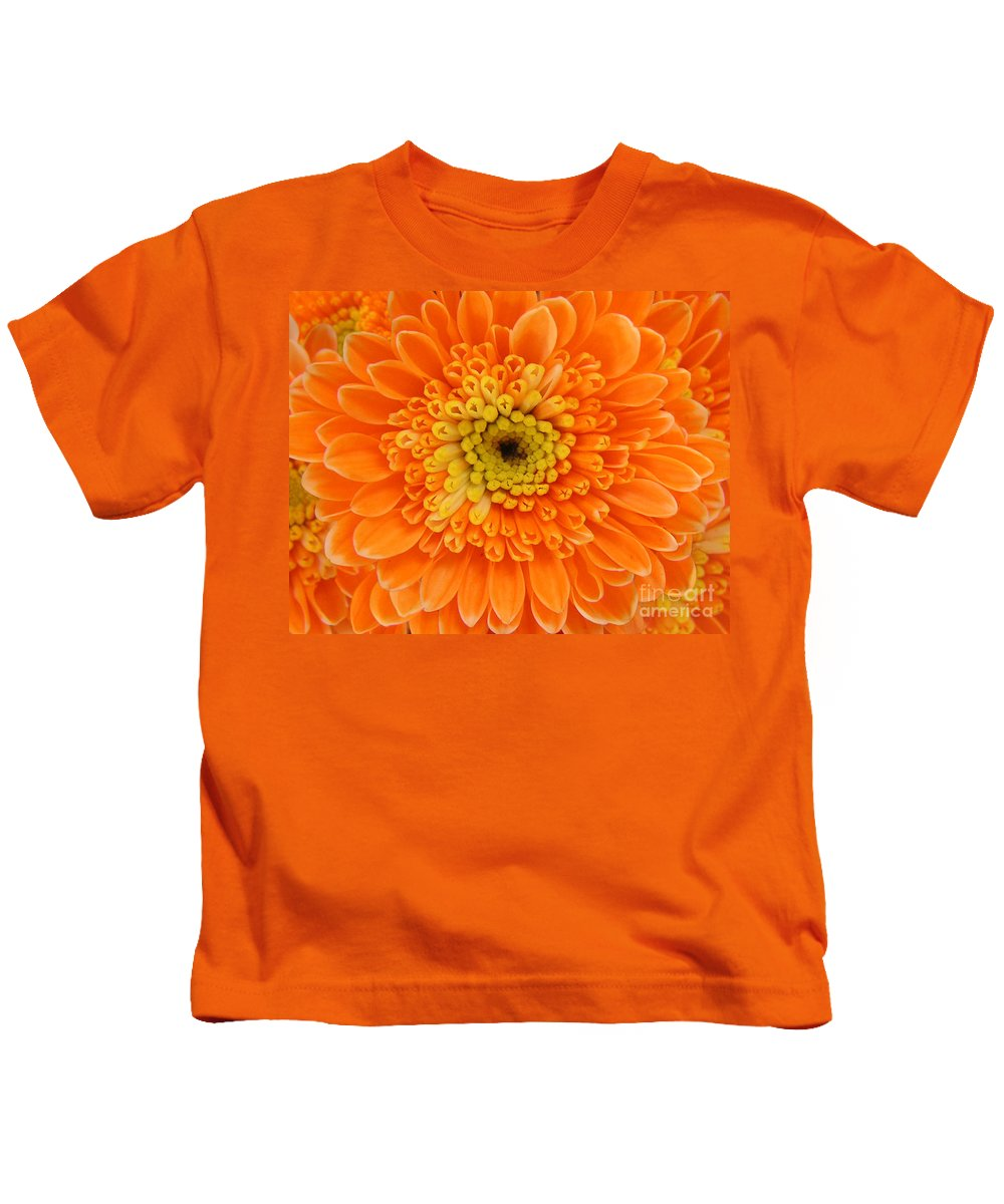Nature Kids T-Shirt featuring the photograph Orange Mum In Detail by Lucyna A M Green