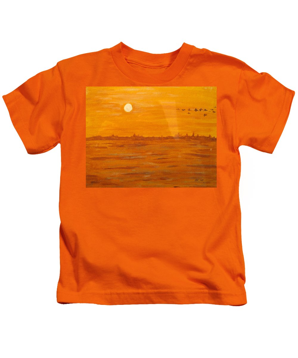 Orange Kids T-Shirt featuring the painting Orange Ocean by Ian MacDonald