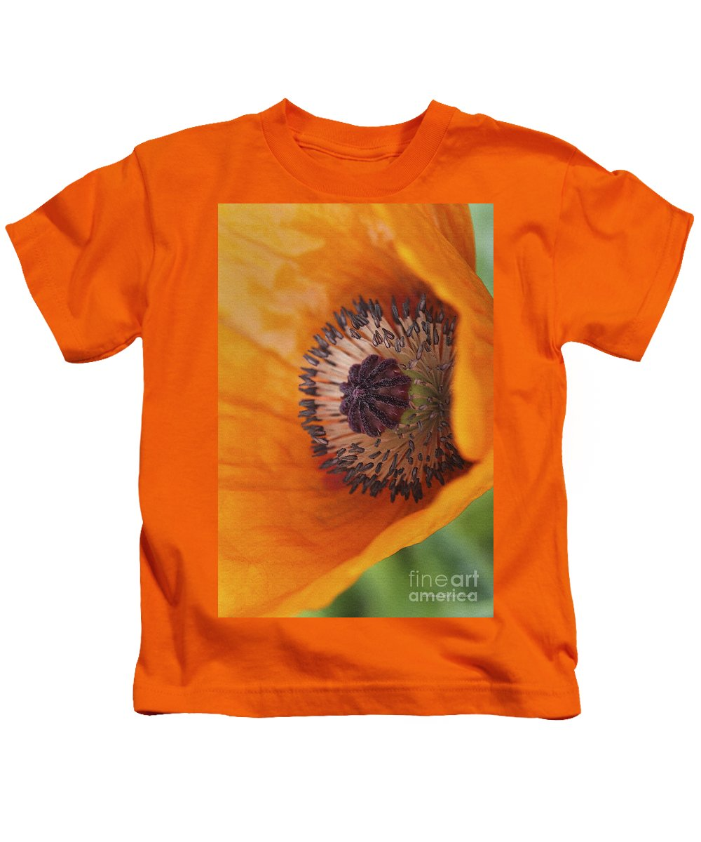 Flower Kids T-Shirt featuring the photograph Orange Poppy With Texture by Deborah Benoit