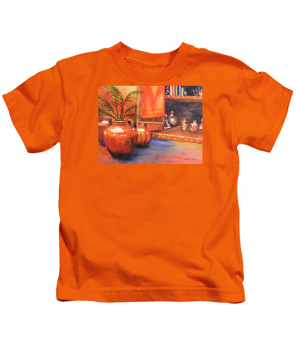 Pottery Kids T-Shirt featuring the painting Orange Scarf by Karen Stark