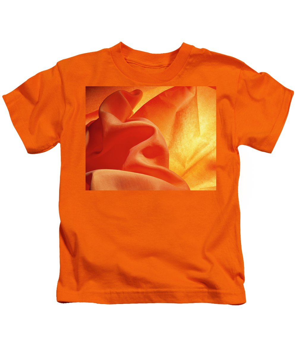 Abstract Kids T-Shirt featuring the photograph Orange Silk by Stefania Levi