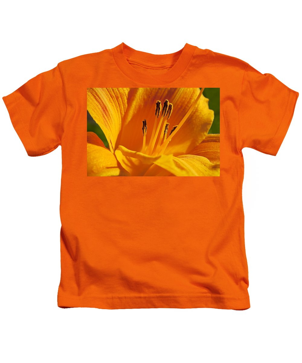 Flowers Kids T-Shirt featuring the photograph Orange Stamens by Kelley King
