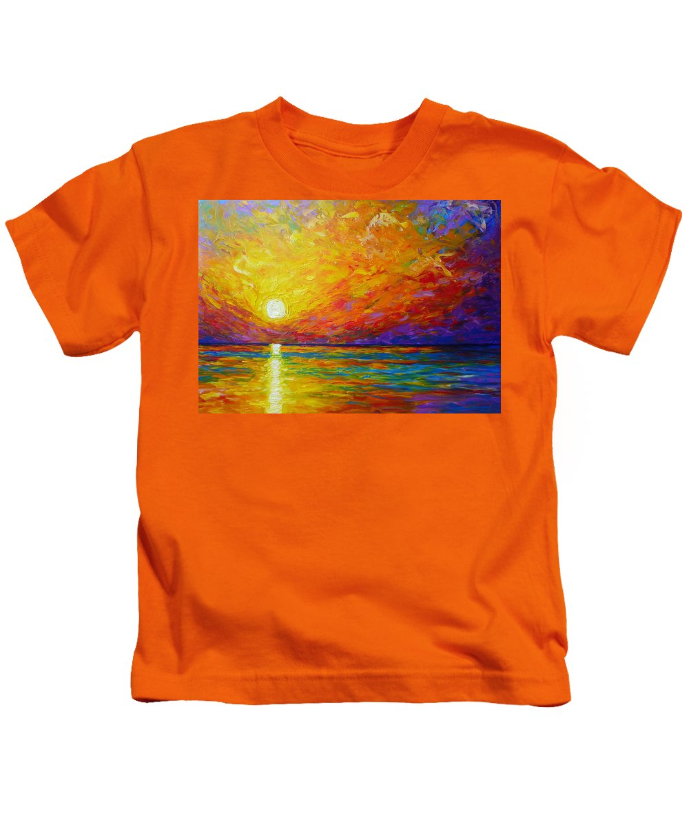 Landscape Kids T-Shirt featuring the painting Orange Sunset by Ericka Herazo