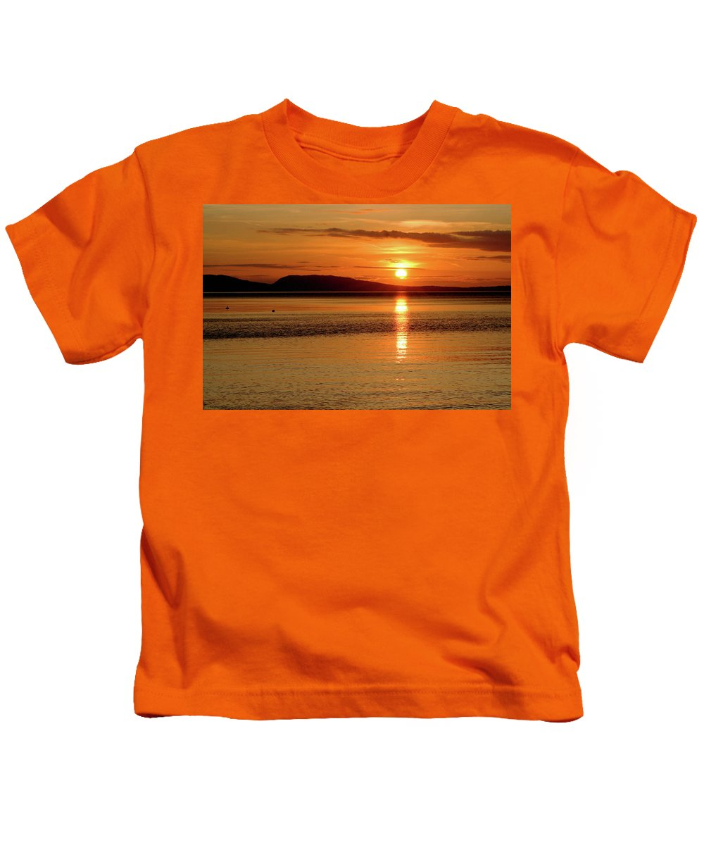 Orcas Island Kids T-Shirt featuring the photograph Orcas Island Sunset by Art Block Collections