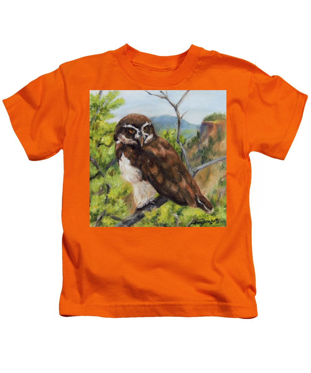 Out On A Limb Kids T-Shirt featuring the painting Out On A Limb by Lori Brackett
