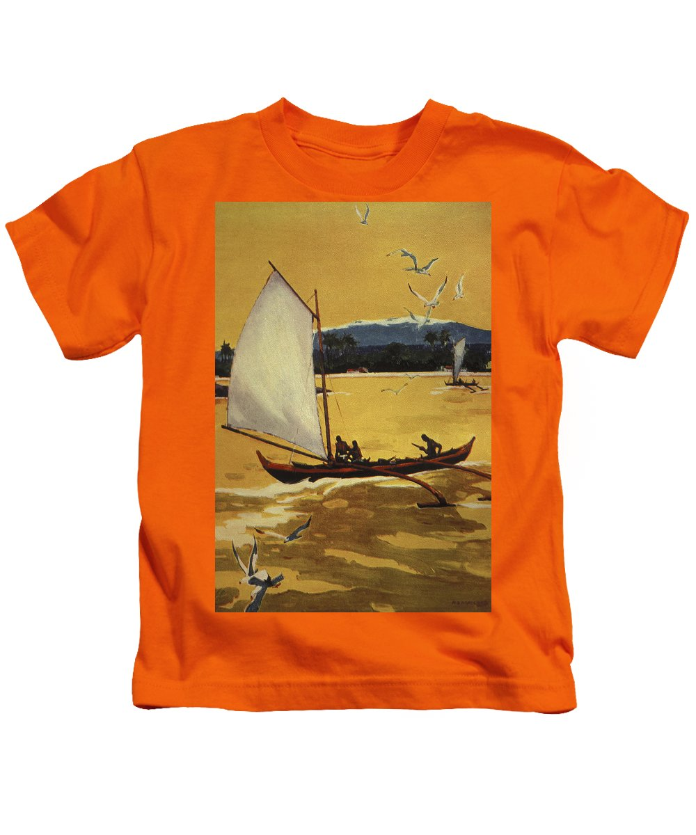 1922 Kids T-Shirt featuring the painting Outrigger Off Shore by Hawaiian Legacy Archive - Printscapes