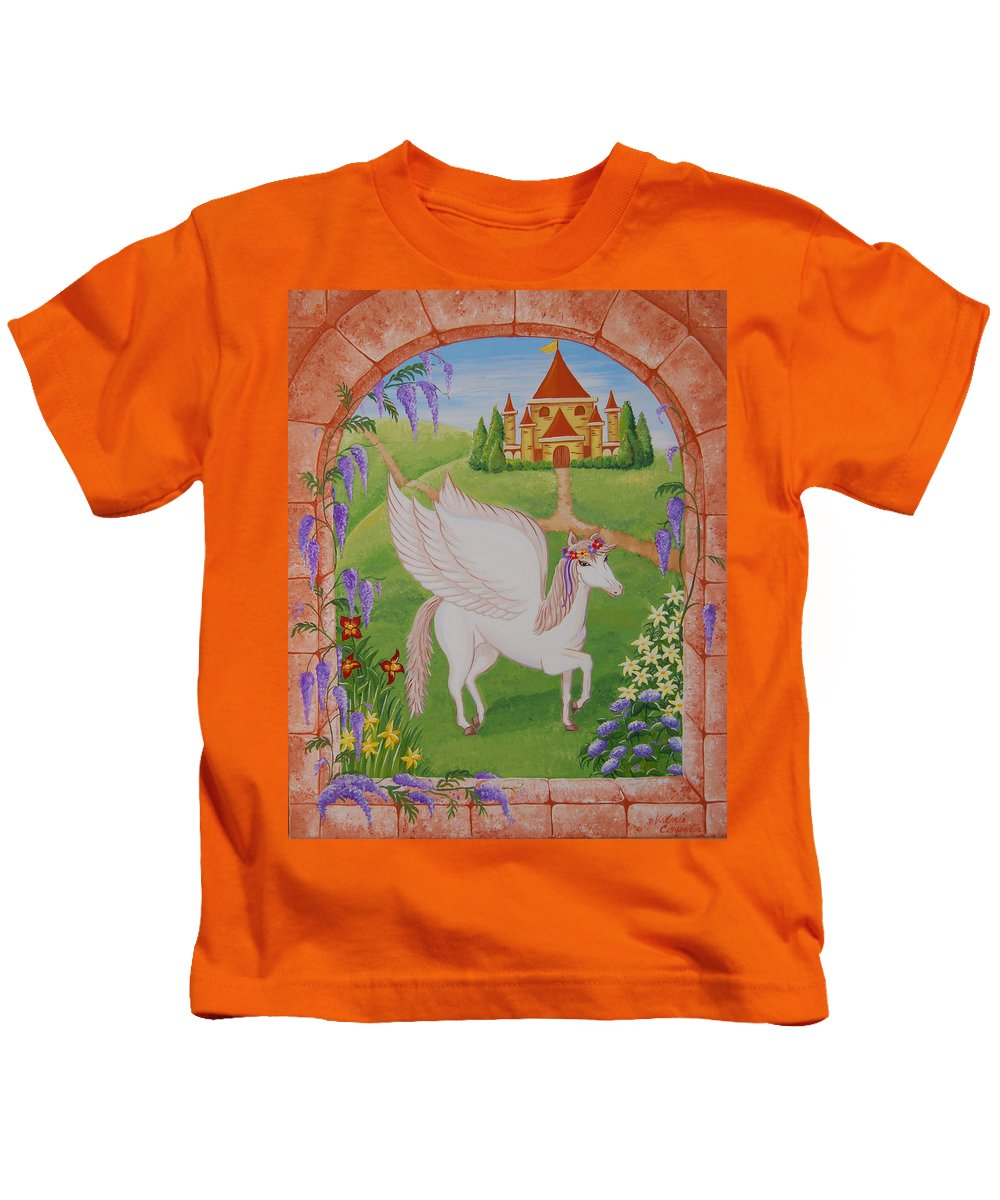Horses Kids T-Shirt featuring the painting Outside The Window by Valerie Carpenter