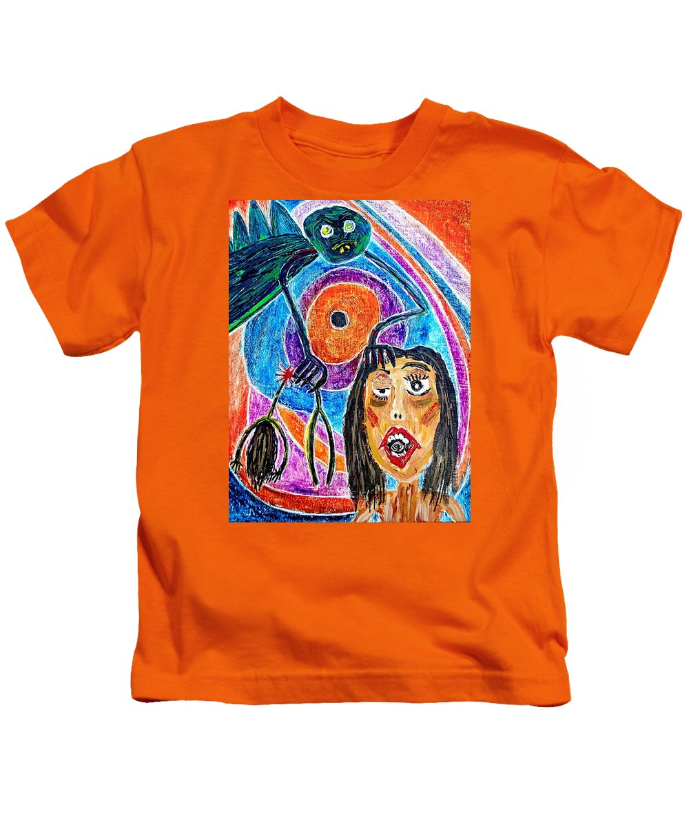 Pain Kids T-Shirt featuring the painting Pain Monster by Gwen Curry