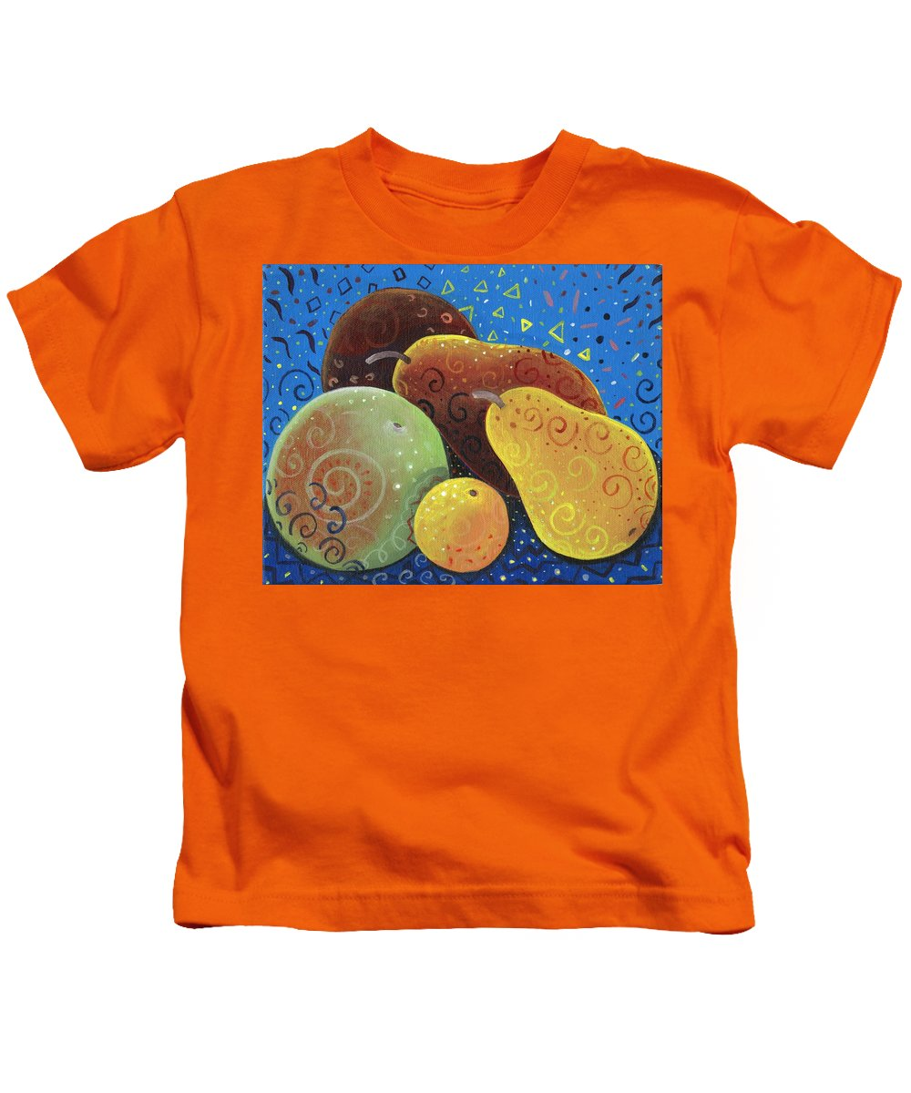 Fruit Kids T-Shirt featuring the painting Painted Fruit by Helena Tiainen