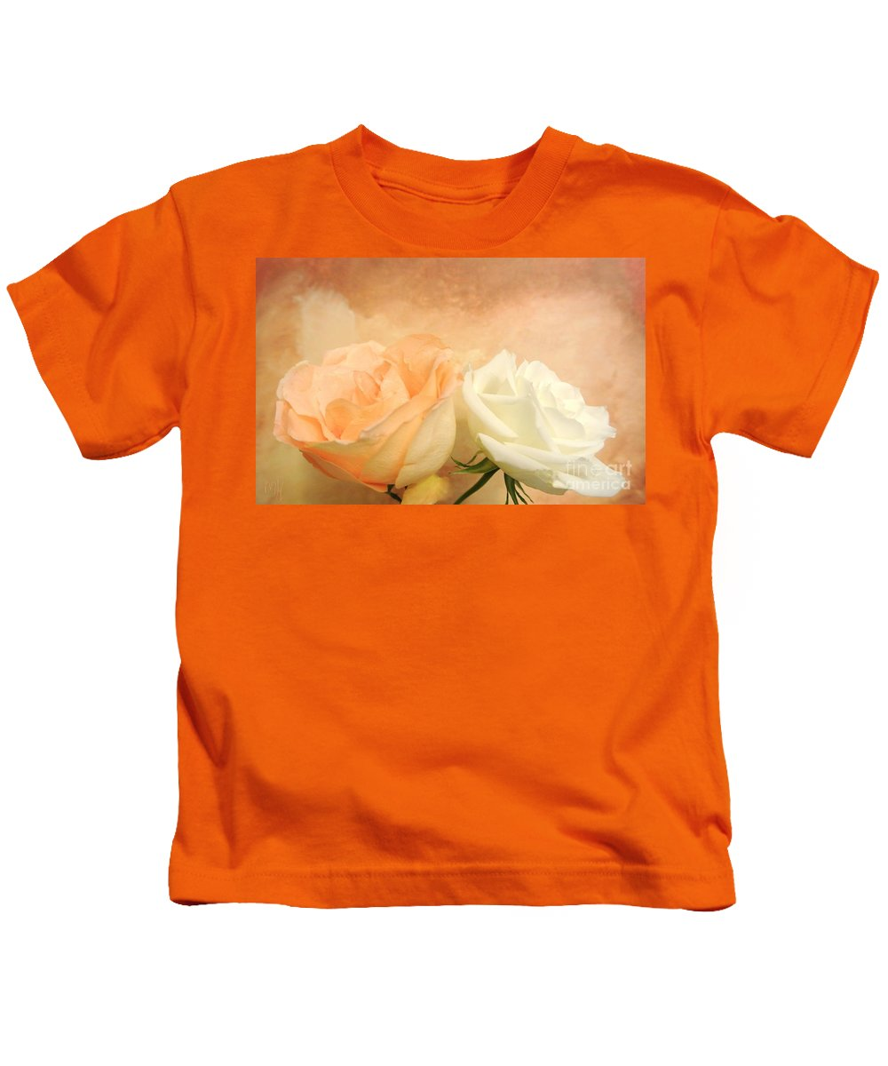 Photo Kids T-Shirt featuring the painting Pale Peach And White Roses by Marsha Heiken