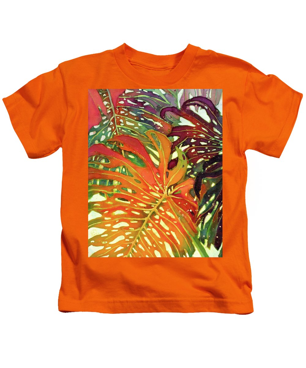 Palm Leaves Kids T-Shirt featuring the painting Palm Patterns 2 by Deborah Younglao