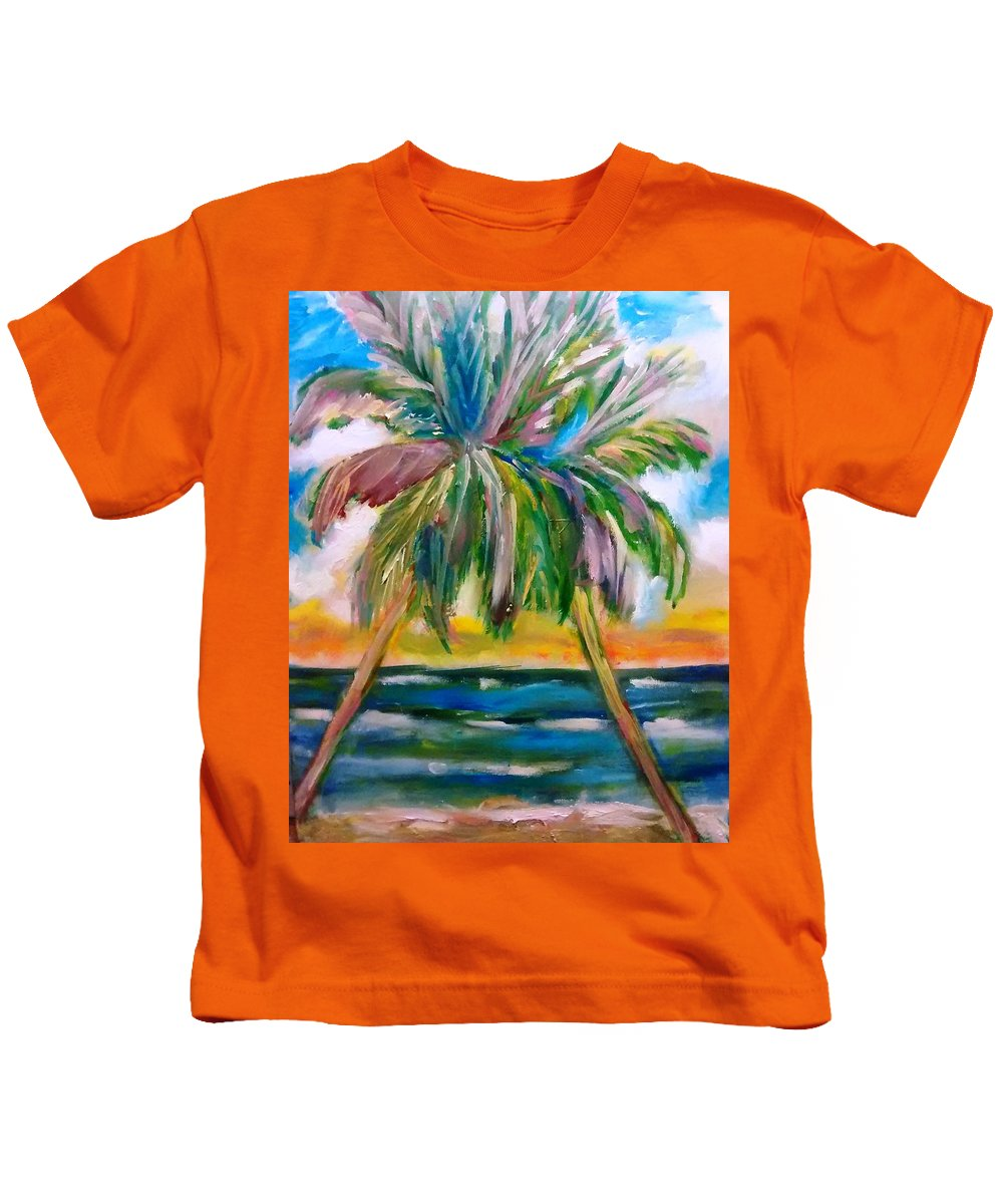 Palm Trees Kids T-Shirt featuring the painting Palm Tree Color Times Two by Patricia Taylor