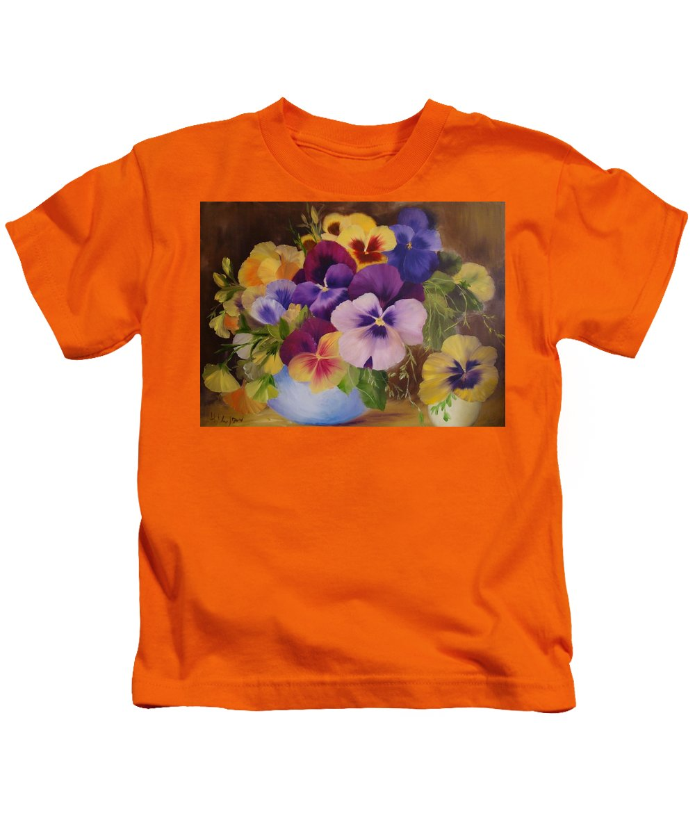 Painting Of Flowers Kids T-Shirt featuring the painting Pansies by Thuthuy Tran
