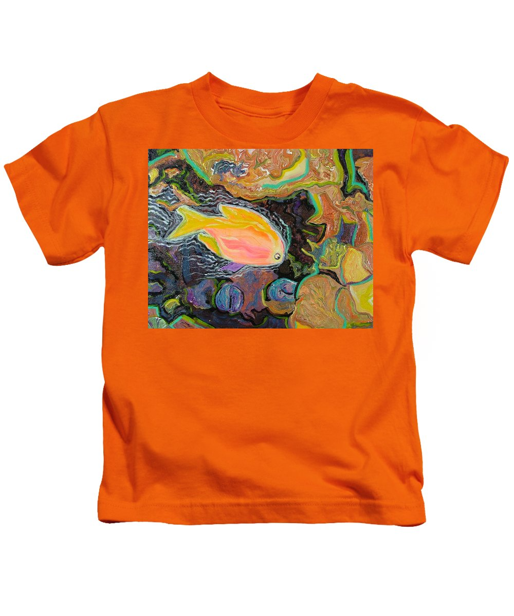 Neon Kids T-Shirt featuring the painting Parrot Fish Are Transgendered by Heather Lennox