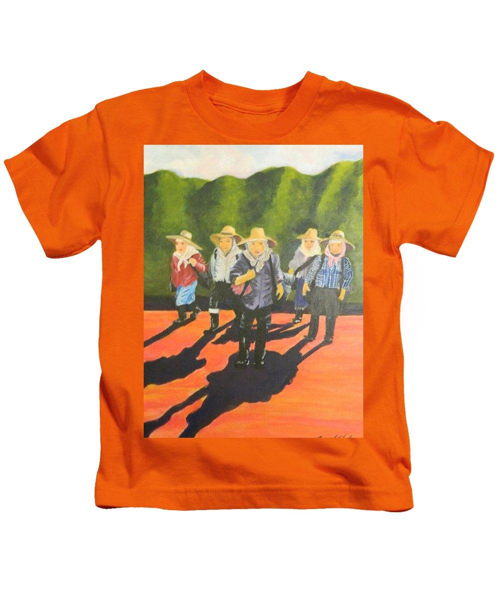 Plantation Kids T-Shirt featuring the painting Pau Hana by Jamie Laniakea Clark