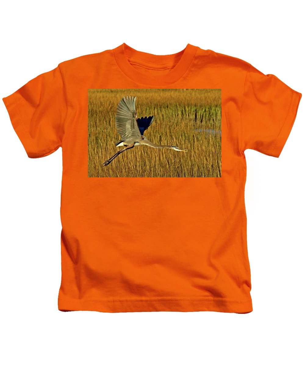 Great Blue Heron Kids T-Shirt featuring the photograph Pb296601 Great Blue Heron by Stephen Ham