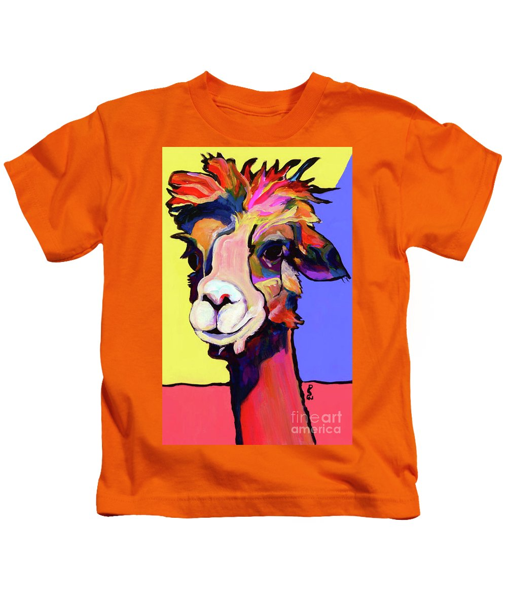 Pat Saunters-white Kids T-Shirt featuring the painting Peaches by Pat Saunders-White