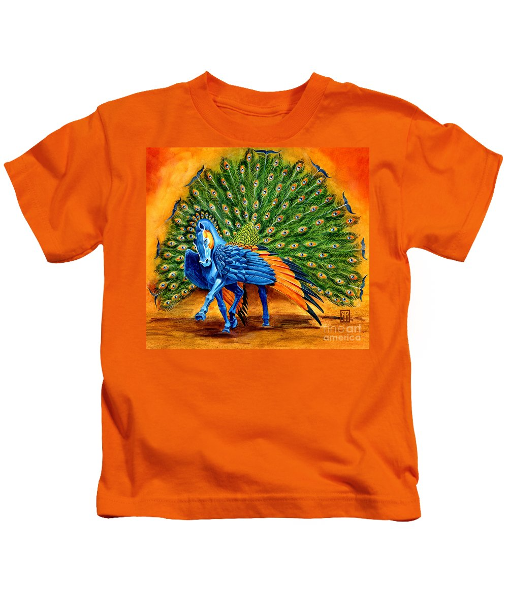 Horse Kids T-Shirt featuring the painting Peacock Pegasus by Melissa A Benson
