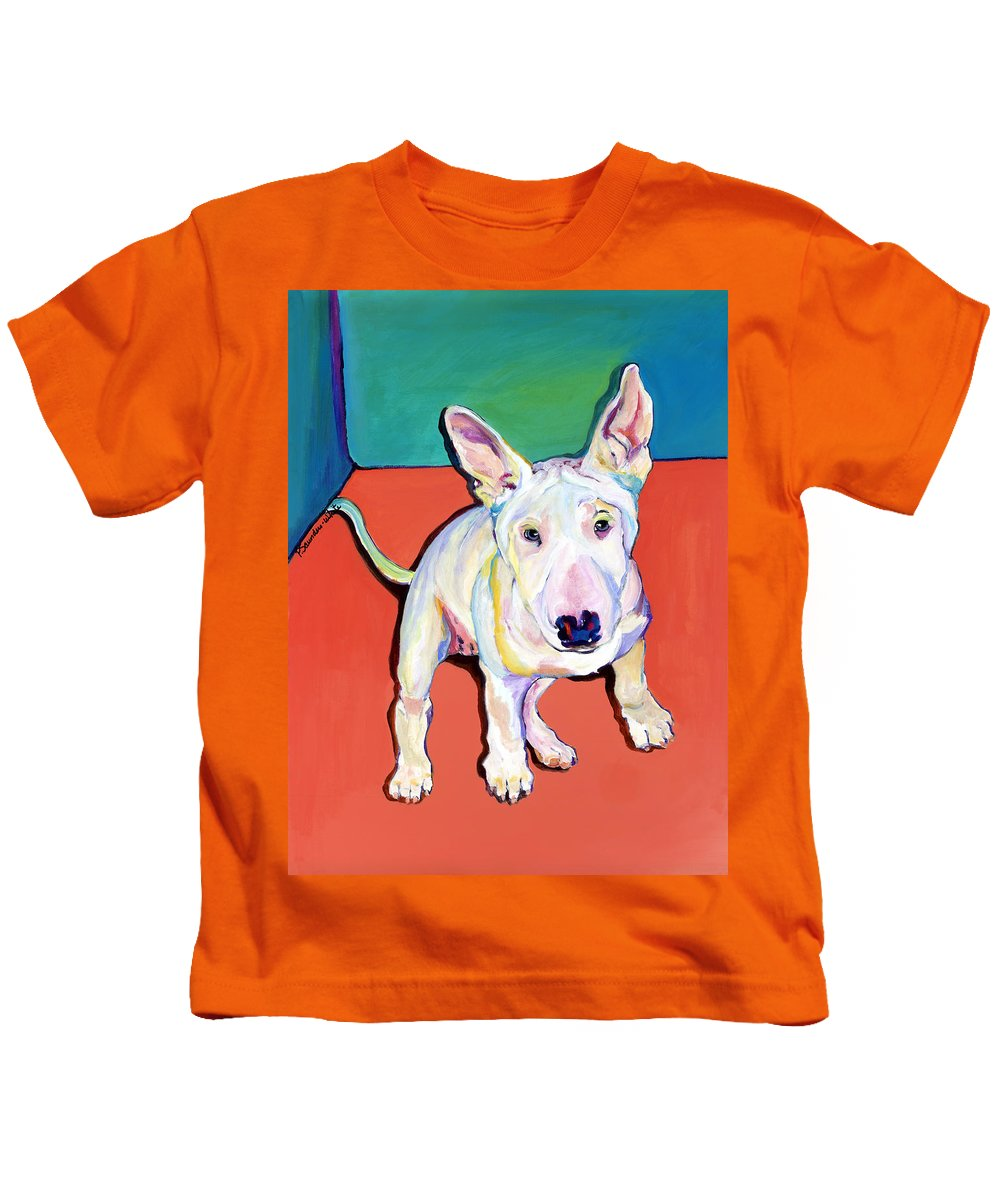 Pet Portrait Commissions Kids T-Shirt featuring the painting Pearl by Pat Saunders-White