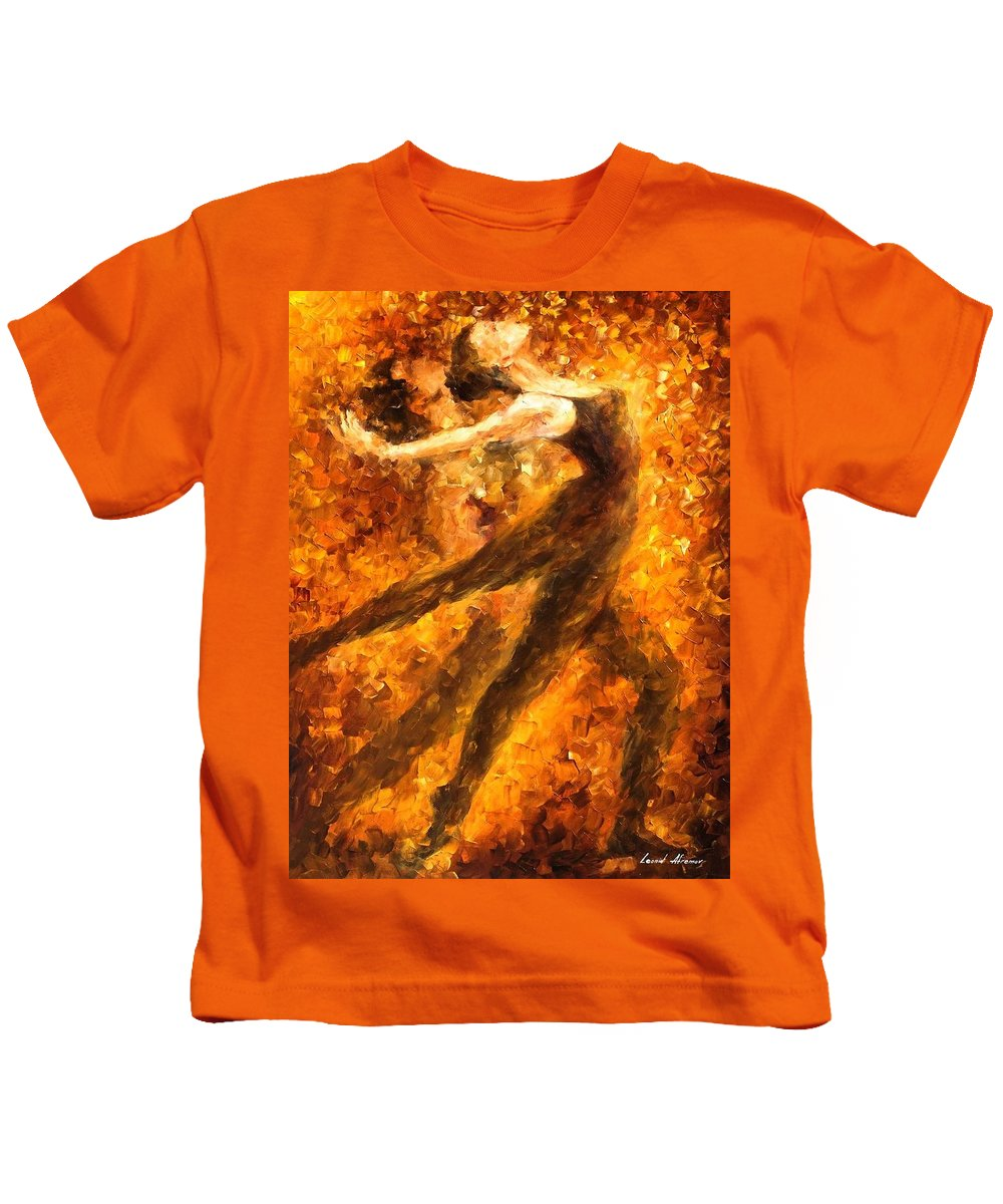 Art Gallery Kids T-Shirt featuring the painting Perfection Of Practice - Palette Knife Oil Painting On Canvas By Leonid Afremov by Leonid Afremov