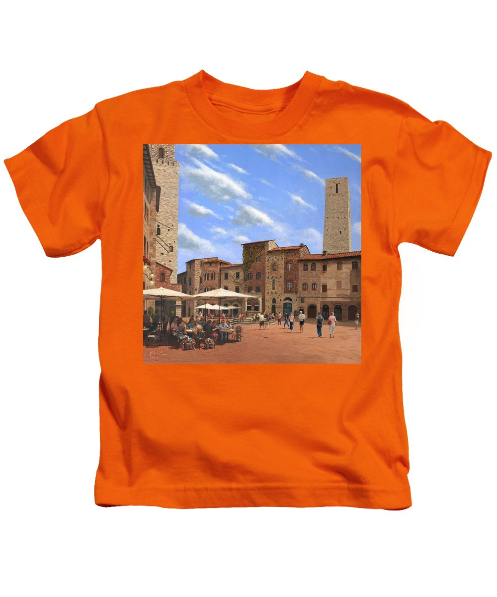 Landscape Kids T-Shirt featuring the painting Piazza Della Cisterna San Gimignano Tuscany by Richard Harpum