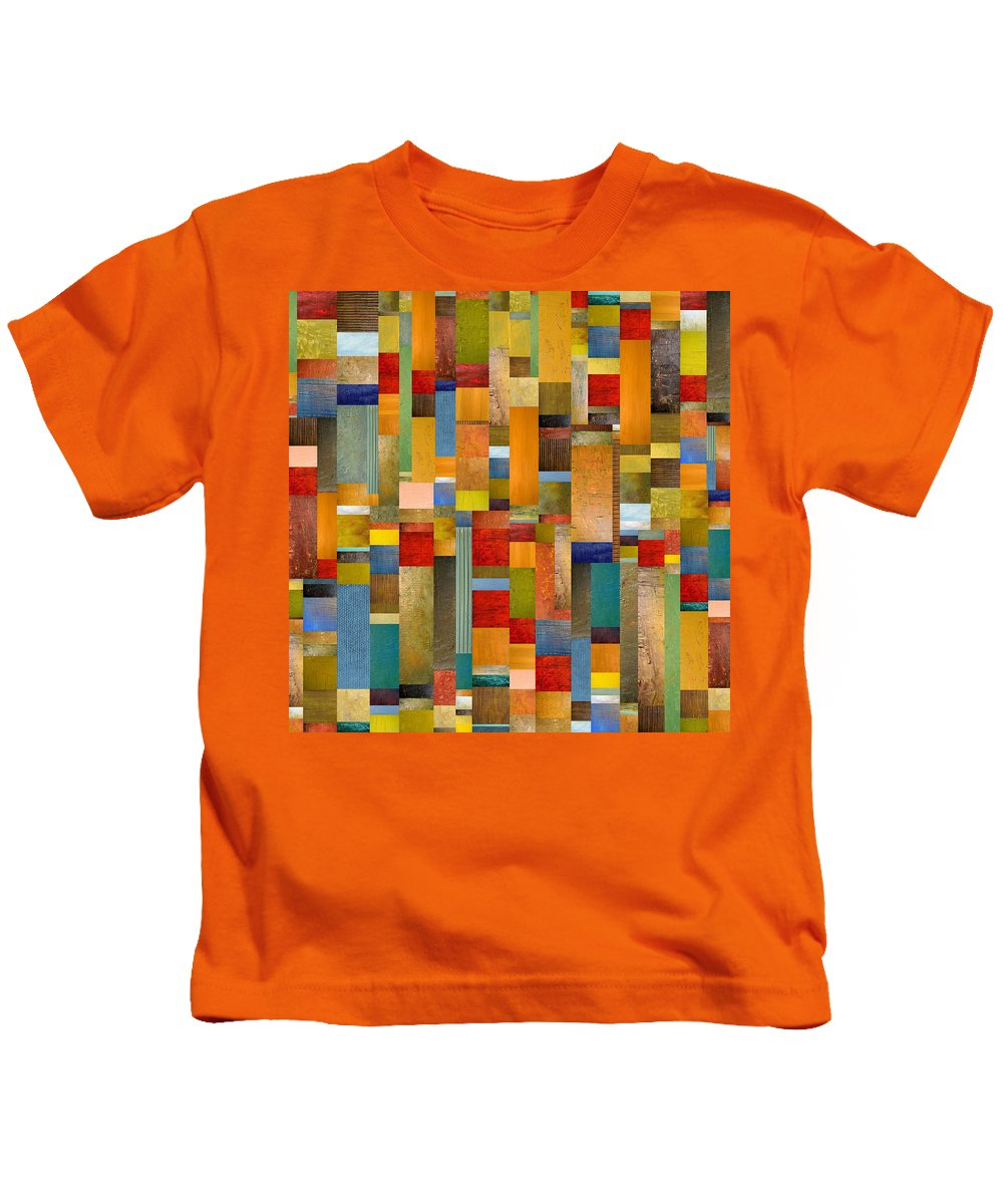 Multicolored Kids T-Shirt featuring the painting Pieces Parts by Michelle Calkins