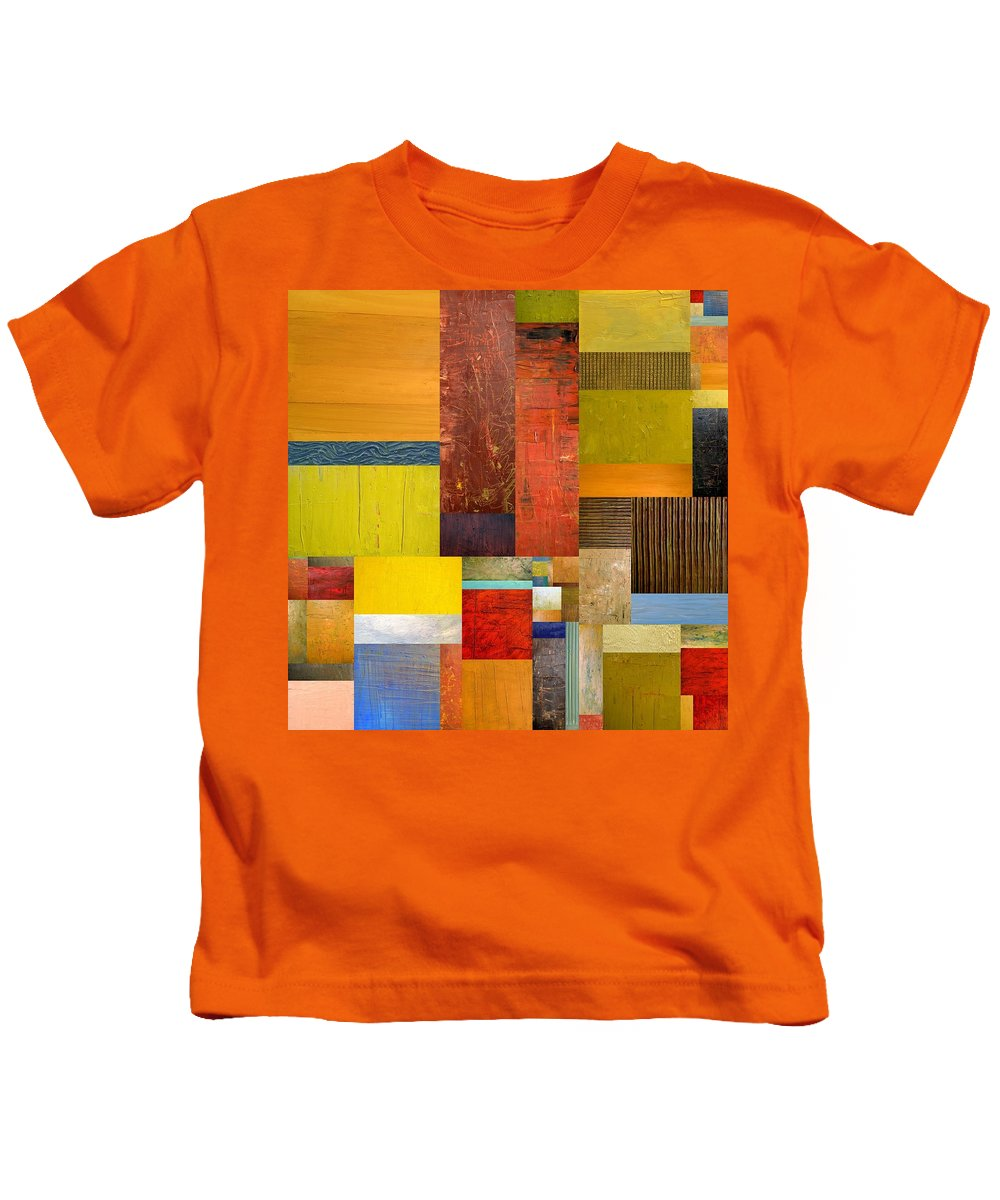 Textural Kids T-Shirt featuring the painting Pieces Project L by Michelle Calkins