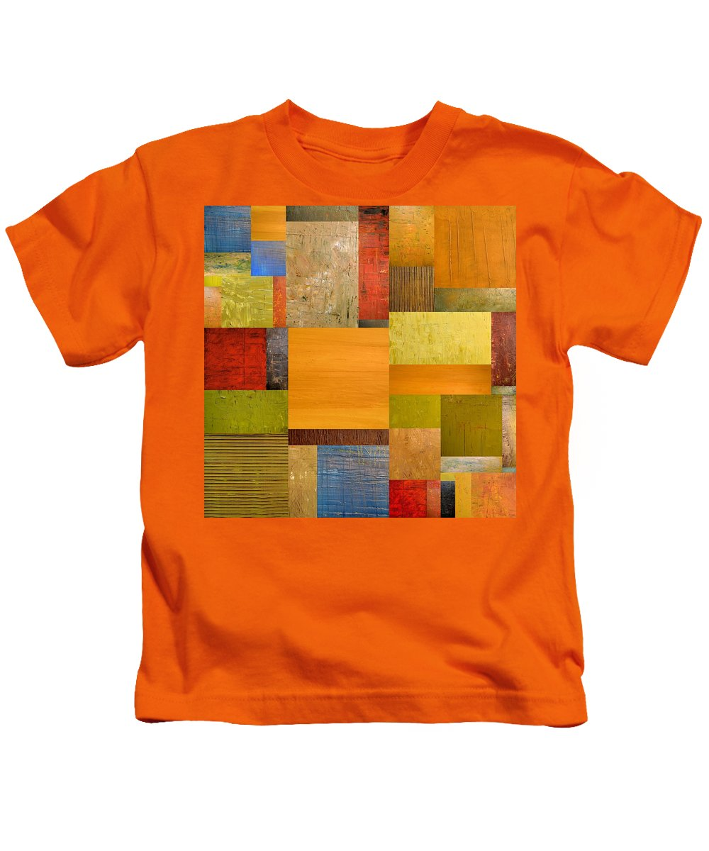 Textural Kids T-Shirt featuring the painting Pieces Project Ll by Michelle Calkins