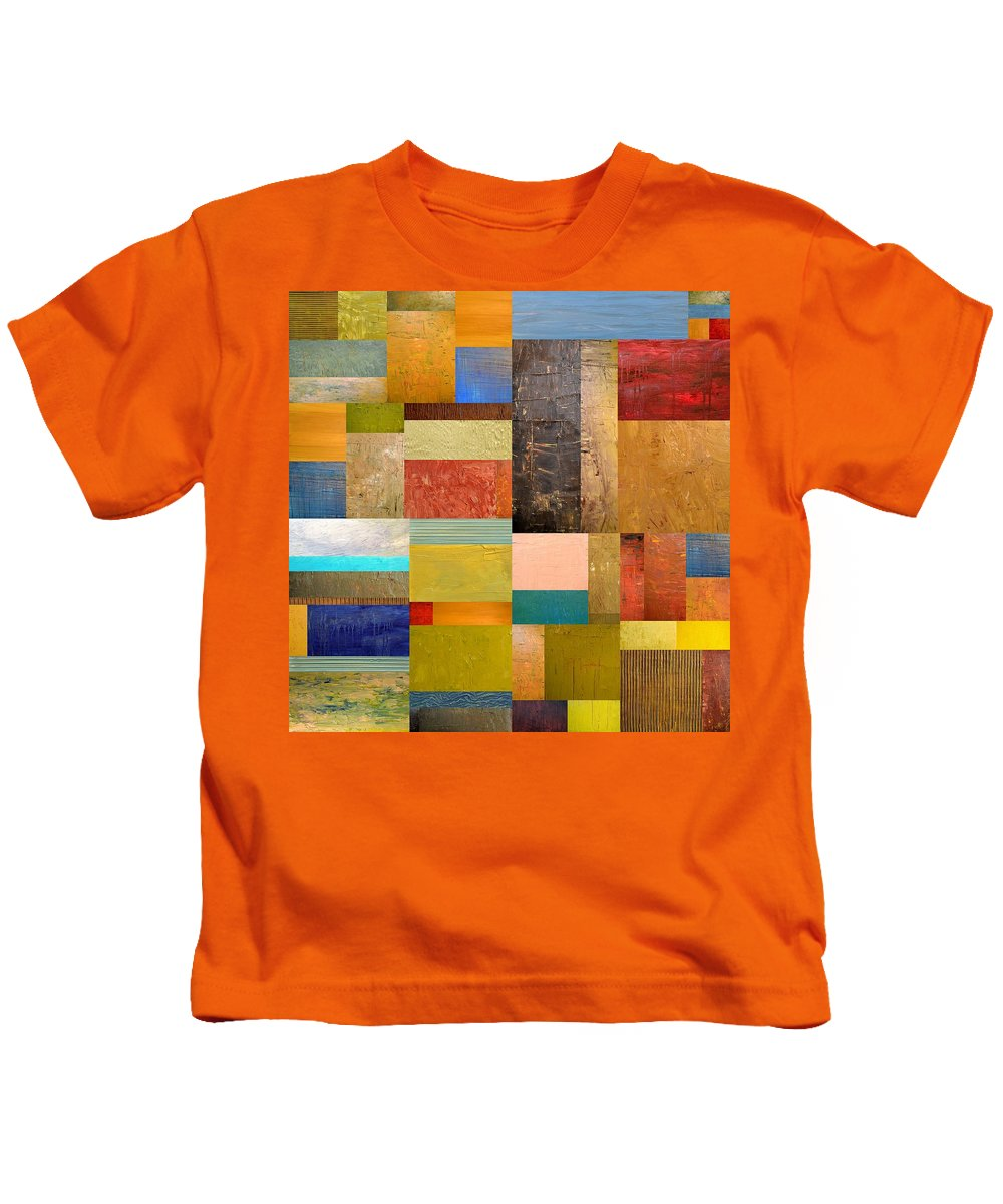 Textural Kids T-Shirt featuring the painting Pieces Project Lll by Michelle Calkins