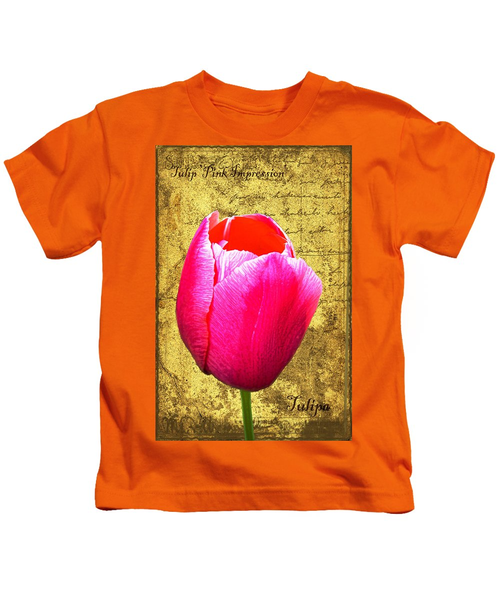 Pink Kids T-Shirt featuring the digital art Pink Impression Tulip by Teresa Mucha