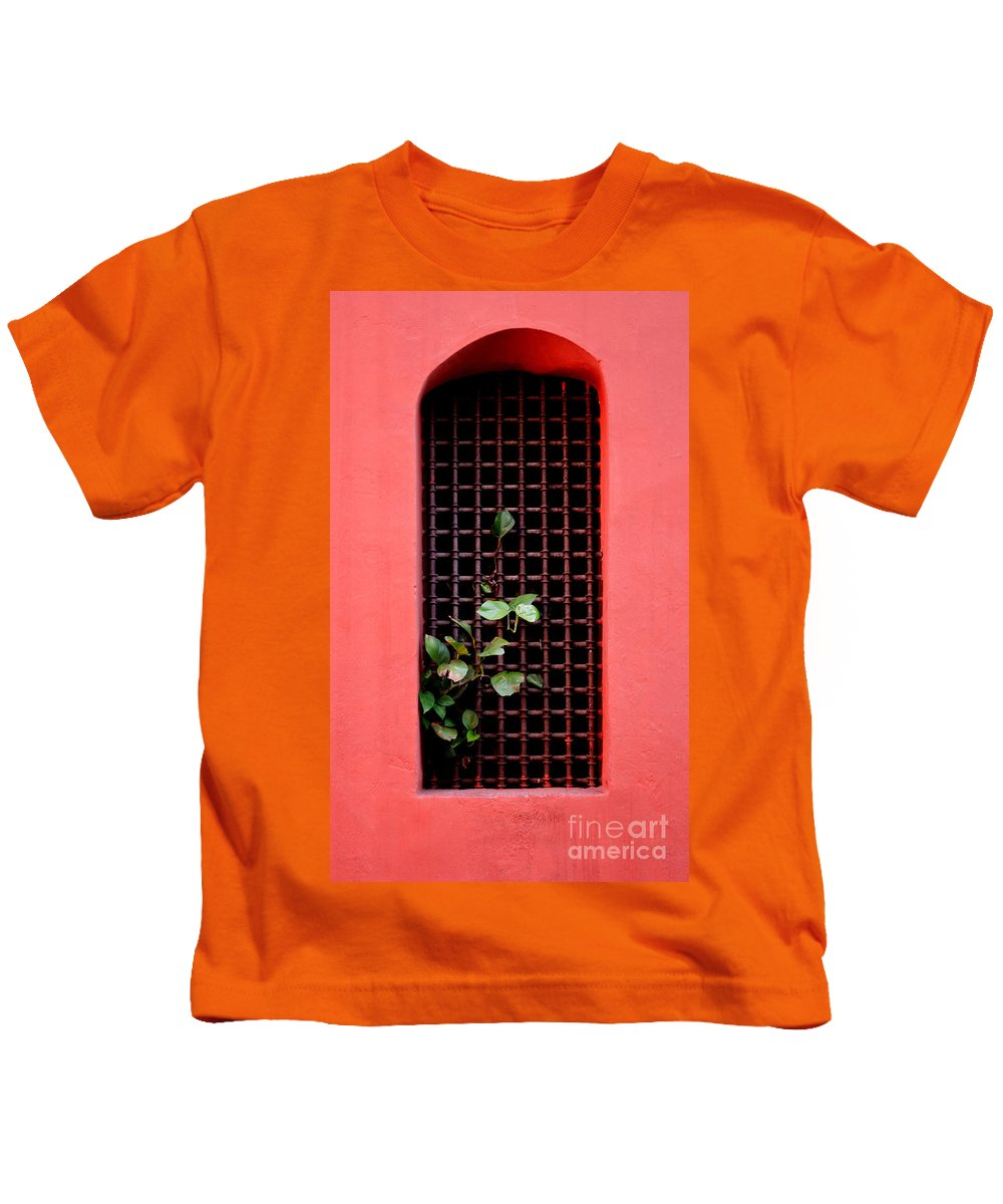 Windo Kids T-Shirt featuring the photograph Pink Window in Cartegena by Thomas Marchessault