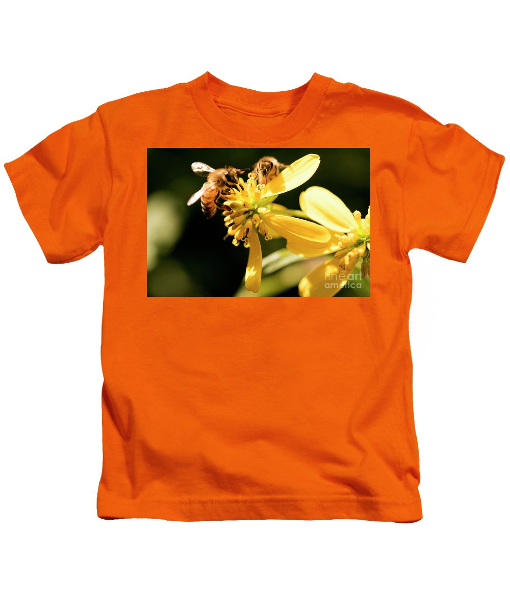 Yellow Flower Kids T-Shirt featuring the photograph Pollinating Bees by Michelle Himes