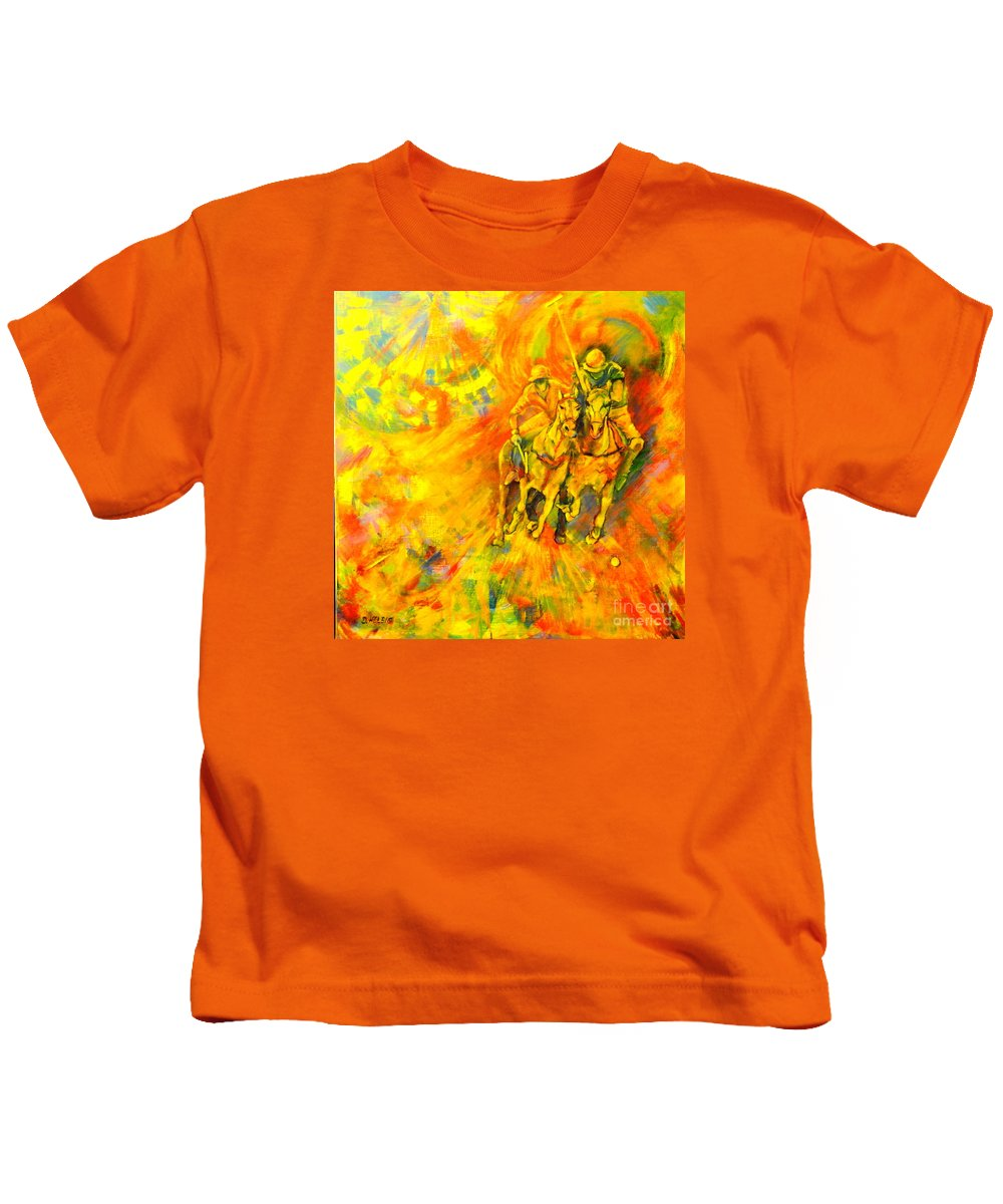 Horses Kids T-Shirt featuring the painting Poloplayer by Dagmar Helbig