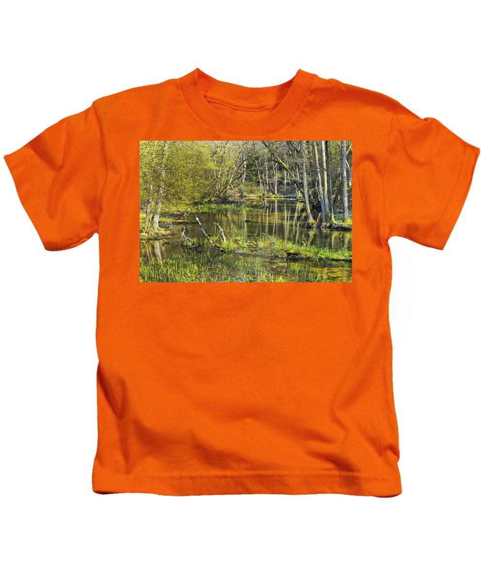 Pond Kids T-Shirt featuring the photograph Pond In The Undergrowth. by Adriano Bussi