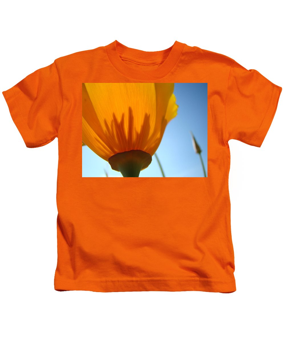 �poppies Artwork� Kids T-Shirt featuring the photograph Poppies Sunlit Poppy Flower 1 Wildflower Art Prints by Baslee Troutman