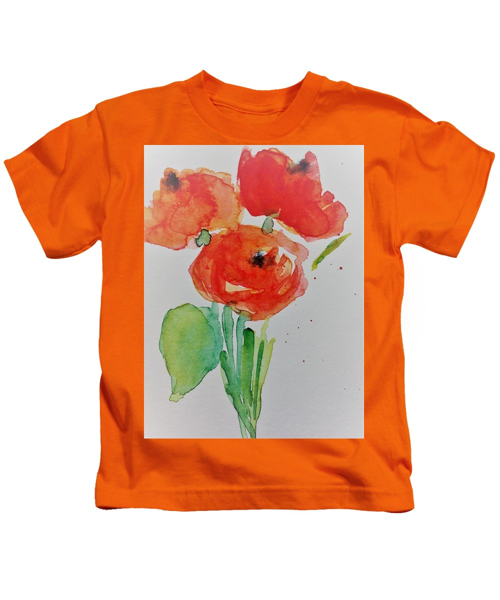 Still Life Kids T-Shirt featuring the painting Poppy Flowers 1 by Britta Zehm