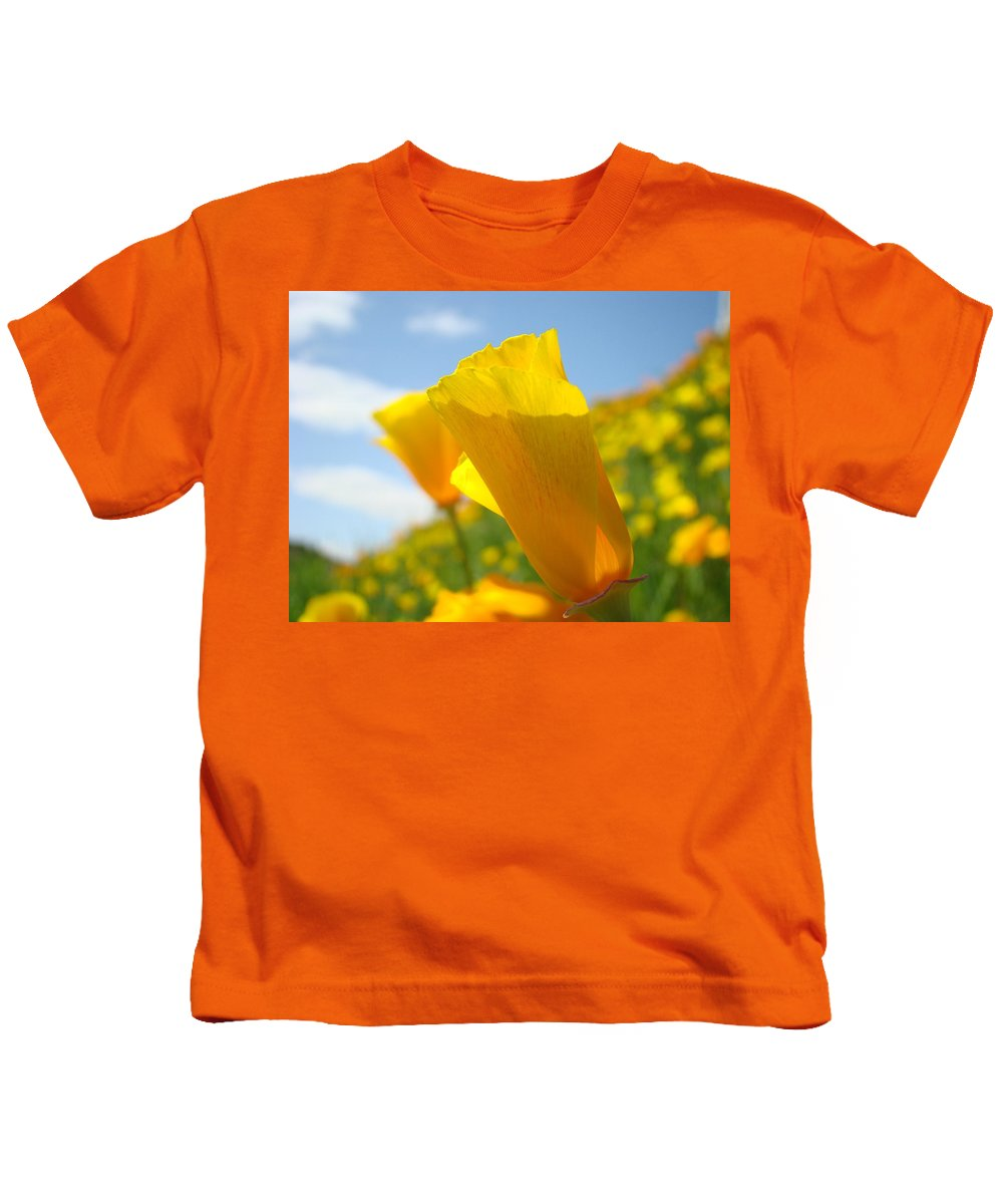 �poppies Artwork� Kids T-Shirt featuring the photograph Poppy Flowers Meadow 3 Sunny Day Art Blue Sky Landscape by Baslee Troutman