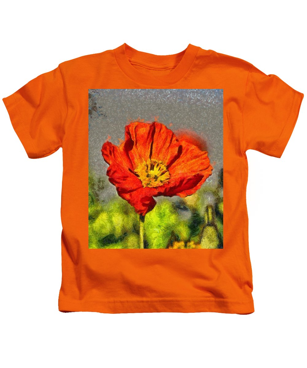 Red Kids T-Shirt featuring the painting Poppy - Id 16235-142749-5072 by S Lurk