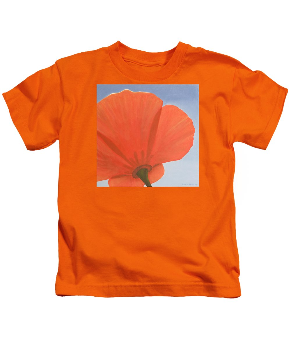Flower Kids T-Shirt featuring the painting Poppy by Rob De Vries