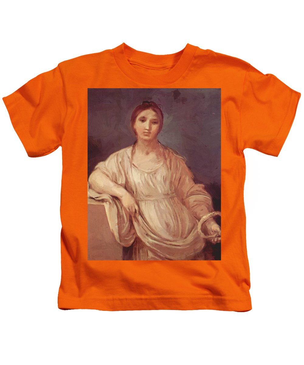 Portrait Kids T-Shirt featuring the painting Portrait Of A Girl With Crown 1642 by Reni Guido