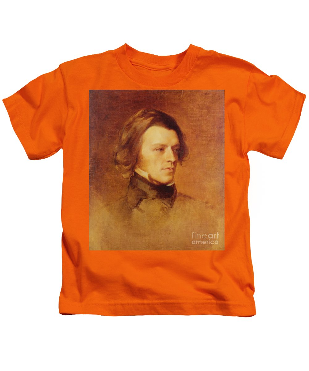Portrait Kids T-Shirt featuring the painting Portrait Of Alfred Lord Tennyson by Samuel Laurence