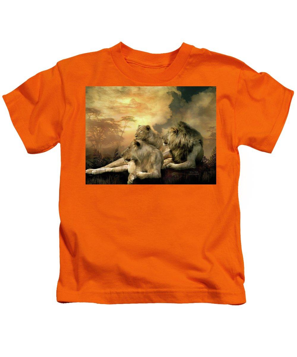 Carol Cavalaris Kids T-Shirt featuring the mixed media Pride by Carol Cavalaris
