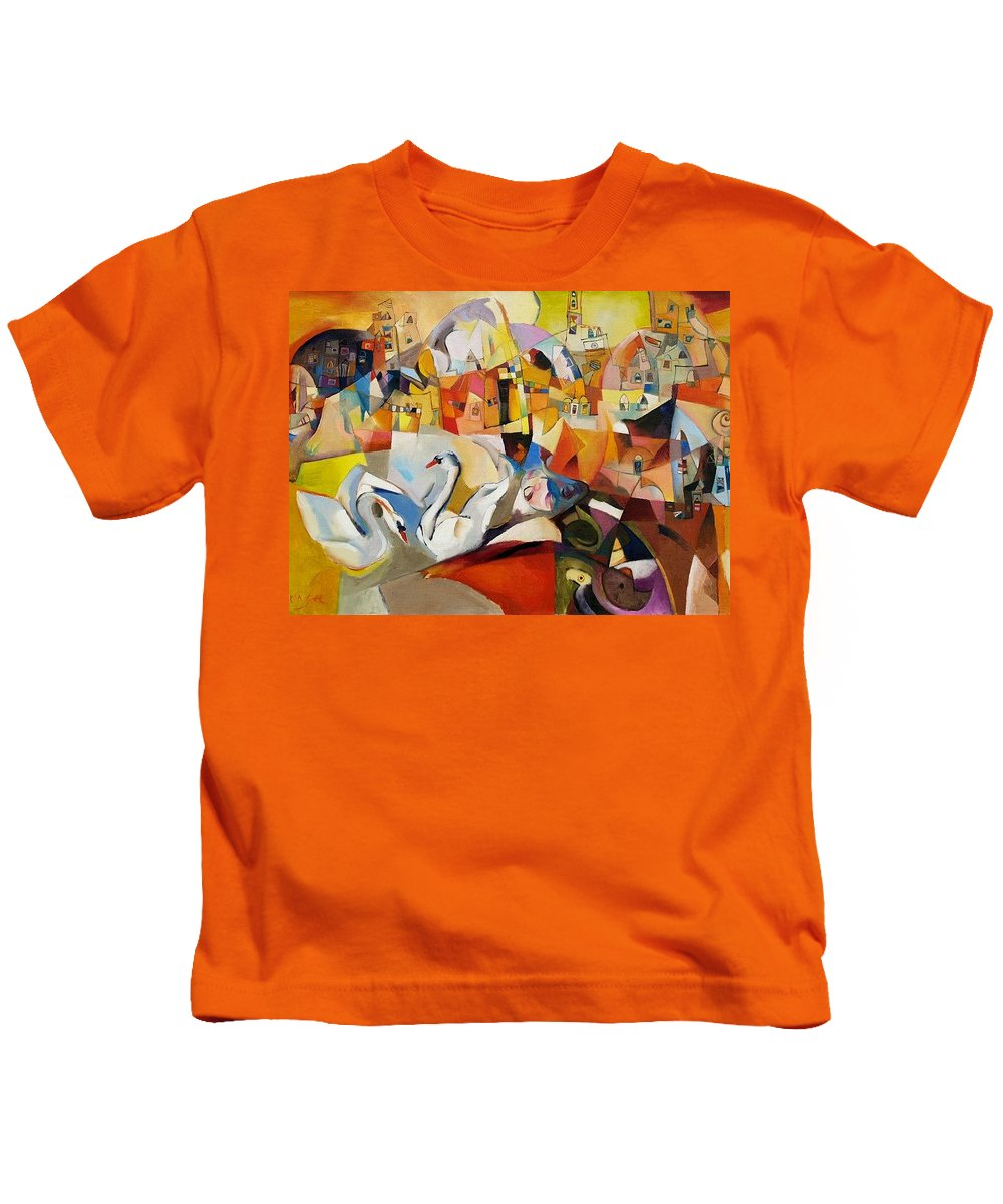 Landscape Kids T-Shirt featuring the painting Primavera by Miljenko Bengez